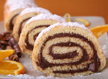 Swiss roll with chocolate Royalty Free Stock Photos