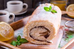 Swiss roll With Cream Cheese Stock Photo