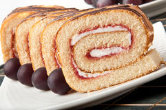 Swiss roll with jam Stock Photo