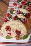 Swiss roll with raspberry and mint close up vertical Royalty Free Stock Image