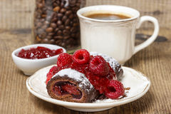 Swiss roll (roulade) with raspberries Royalty Free Stock Photography