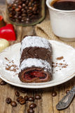 Swiss roll (roulade) with raspberries Stock Photos