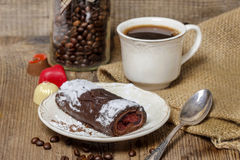 Swiss roll (roulade) with raspberries Stock Photo