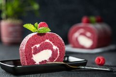 Swiss roll sponge cake with fresh raspberry, mint and sugar icing on dark background.  Stock Images