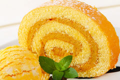 Swiss Roll with yellow sherbet Stock Photos