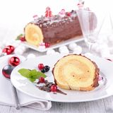 Swiss roll, yule log Stock Photos