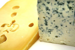 Swiss and roquefort cheeses Royalty Free Stock Photo