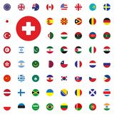Swiss round flag icon. Round World Flags Vector illustration Icons Set. Swiss round flag icon. Round World Flags Vector illustration Icons Set Royalty Free Stock Images