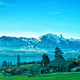 Swiss rural landscape near Thun lake Stock Images
