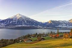 Swiss rural landscape near Thun lake at morning sunshine Stock Images