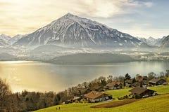 Swiss rural landscape near Thun lake at sunshine Stock Images