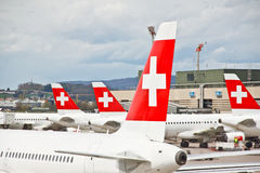SWISS's air crafts at Zurich airport 4 royalty free stock photos
