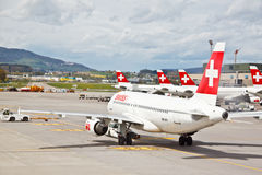 SWISS's air crafts at Zurich airport 5 Royalty Free Stock Images
