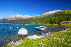 Swiss sailing school on Silvaplanersee lake in Engadin Valley Royalty Free Stock Image