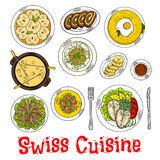 Swiss seafood dishes with fondue and desserts icon. Swiss cheese fondue sketch symbol with croutons, potato rosti topped with fried egg and risotto with cheese Stock Photo