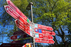 Swiss signage. Swiss tourist signage at Rhein fall area Royalty Free Stock Photography