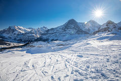 Swiss ski Alpine mountain resort with famous Eiger, Monch and Ju Stock Image