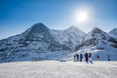 Swiss ski Alpine mountain resort with famous Eiger, Monch and Ju Royalty Free Stock Image