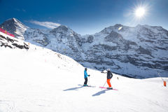 Swiss ski Alpine mountain resort with famous Eiger, Monch and Ju Royalty Free Stock Photo