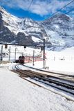 Swiss ski Alpine mountain resort with famous Eiger, Monch and Ju Stock Photos