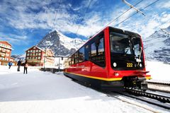 Swiss ski Alpine mountain resort with famous Eiger, Monch and Ju Stock Photo