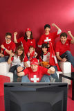 Swiss sports fans Royalty Free Stock Photo