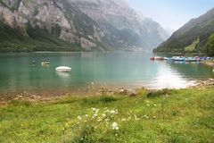 Swiss spring lake Royalty Free Stock Photo