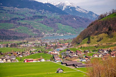 Swiss spring valley Stock Image