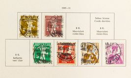 Swiss Tell Stamp series from 1909 royalty free stock photo