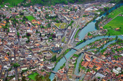 Swiss town from above Royalty Free Stock Photography