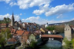 Swiss town. A small historical Swiss town by a river. Traditional buildings royalty free stock photography