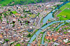 Swiss town top view Royalty Free Stock Photo