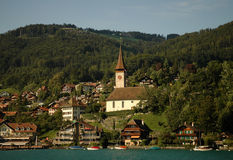 Swiss town on water Royalty Free Stock Photography