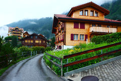 Swiss town Wengen in dawn Stock Photo