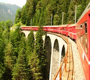 Swiss Train and a Bridge Royalty Free Stock Photography