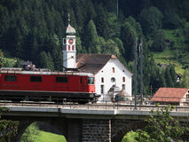 Swiss Train on Bridge at Wassen Royalty Free Stock Photos