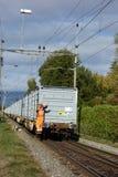 Swiss Train Cargo Worker Waving stock photos