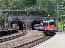Swiss Train Coming Out From Gotthard Tunnel Stock Photo