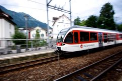 Swiss Train Entering Station Stock Photos