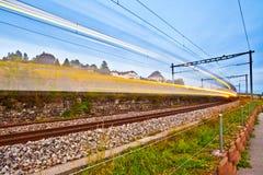 Swiss Train Light Trails. A Lavaux Vineyard Terrace, witzerland Stock Photos