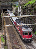 Swiss Train on old Gotthard Route stock image