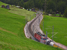 Swiss Train on Rail Ways Stock Photography