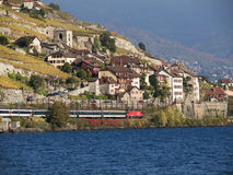 Swiss Train at Saint-Saphorin in Lavaux Stock Photo