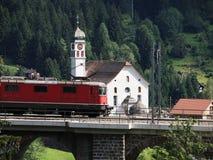 Swiss Train at Wassen, Switzerland Royalty Free Stock Photo