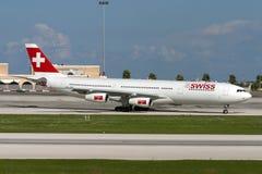Swiss A340 on training flights Royalty Free Stock Photo