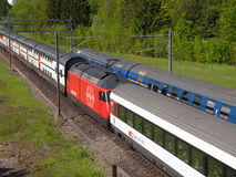 Swiss Passenger Trains Crossing Stock Images