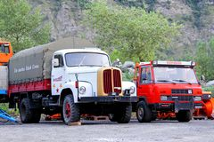 Swiss trucks Saurer and Reform Royalty Free Stock Photo
