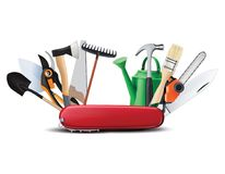 Swiss universal knife with garden tools. All in one. Creative 3d illustration royalty free illustration