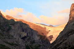 The Swiss Upper Grindelwald Glacier in the evening stock images