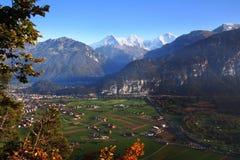 Swiss valley. Alpine peaks over Interlaken valley in Switzerland stock photo